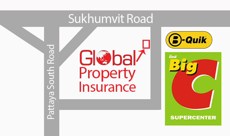 Global Propoerty and Insurance office in Pattaya, Thailand Location Map